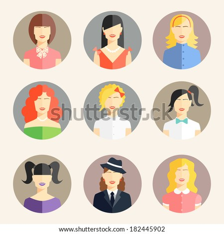 Vector collection of women avatars in flat style - stock vector