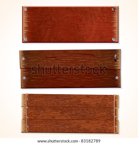 Vector Collection of Wooden Signs and Boards, isolated on white background. - stock vector