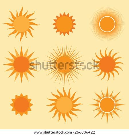 vector collection: sun icons - stock vector
