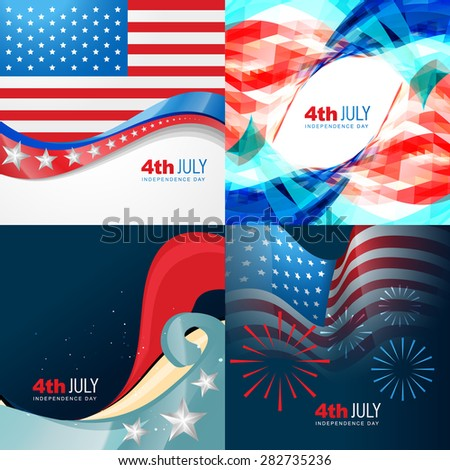 vector collection 4th of july american independence day background with wave  - stock vector