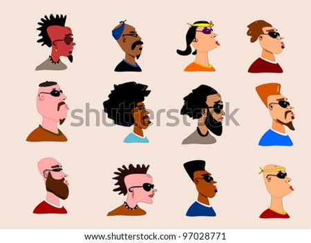 vector collection with people of different ethnicity - stock vector