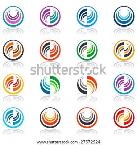 Vector color abstract icons. - stock vector
