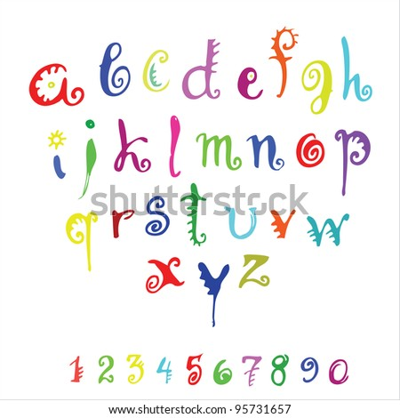 vector color alphabet and numerals on a white background / vector alphabet - stock vector