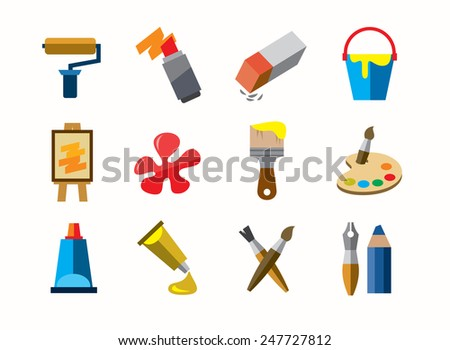 vector color art icons on white background - stock vector