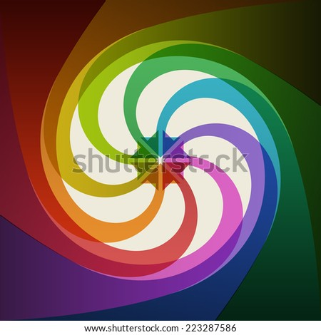 Vector color background with twisted shapes. Abstract illustration for web, print template with text box. Simple concept of movement, communication, connect - stock vector