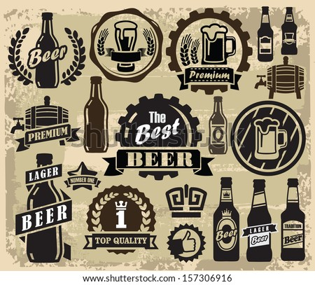 vector color beer pub labels icons set
