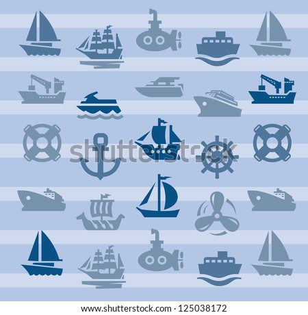 vector color boat and ship icons set - stock vector