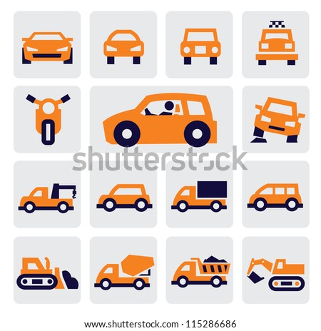 vector color cars icons set on gray - stock vector