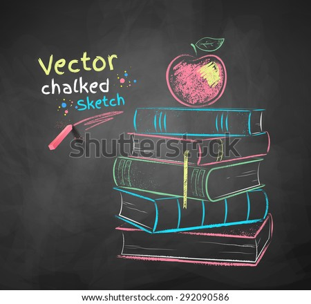 Vector color chalk drawing of apple on books - stock vector