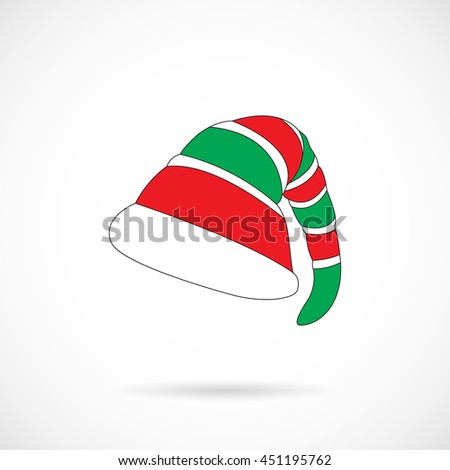 Vector Color Christmas Elf Cap isolated over white background. Element for Christmas holiday projects and designs. - stock vector