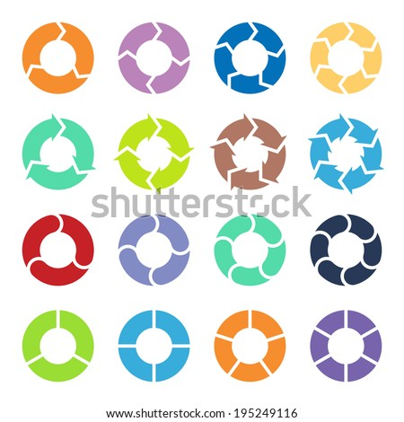 Vector color circle arrows for infographic. Template for diagram, graph, presentation and chart. Business concept with three, four, five and six options, parts, steps or processes. - stock vector