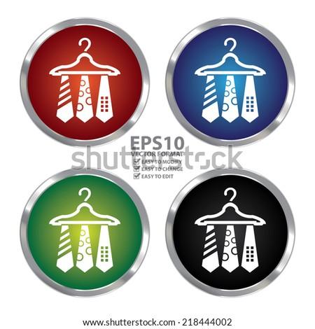 Vector : Color Circle Metallic Necktie Hanger Button Icon or Button Isolated on White Background - stock vector
