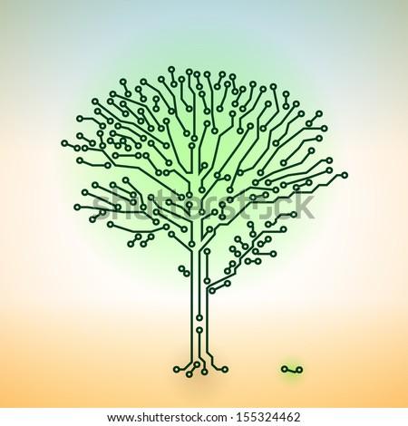 Vector color circuit board electronic tree - digital technology concept - stock vector