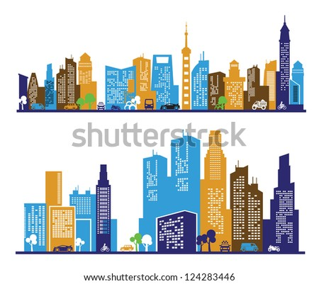 vector color city icons set on white background - stock vector