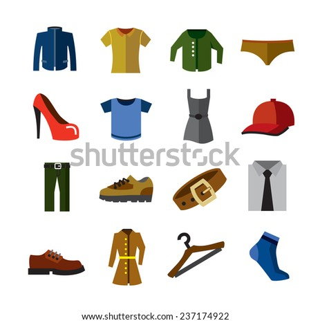 vector color Clothes  icons set on white