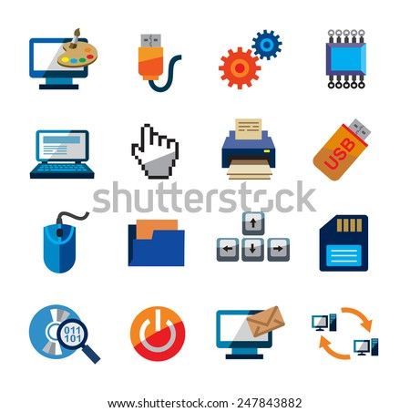 vector color computer icons on white background - stock vector