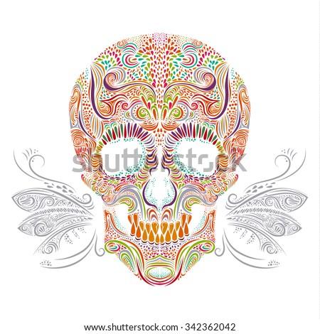 Vector color decorative Tattoo Skull Illustration on white background - stock vector