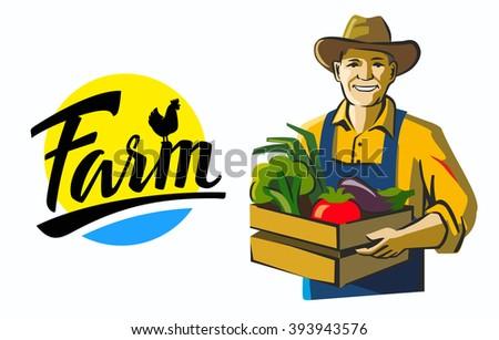 vector color farmer icon on white background - stock vector