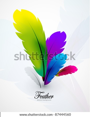 Vector color feathers background - stock vector
