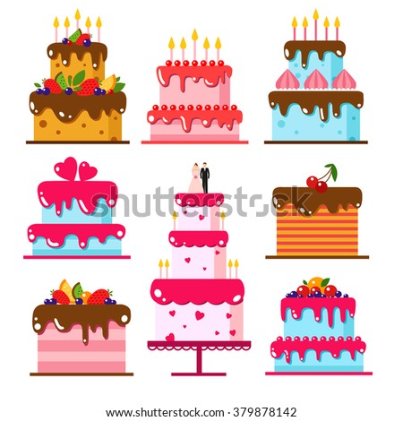 Vector color flat background with cake. Set holiday icons cake. Happy birthday, party. Sweets, cake, wedding, celebrate, dessert, chocolate, food, baking.