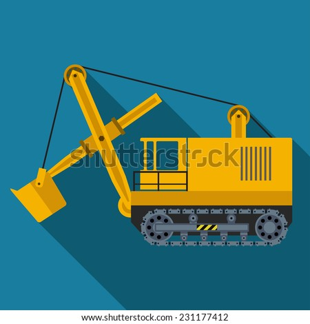 Vector color flat heavy machine icon. Eps10