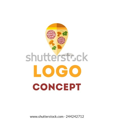 Vector color flat logo concept for pizza with map pin - stock vector