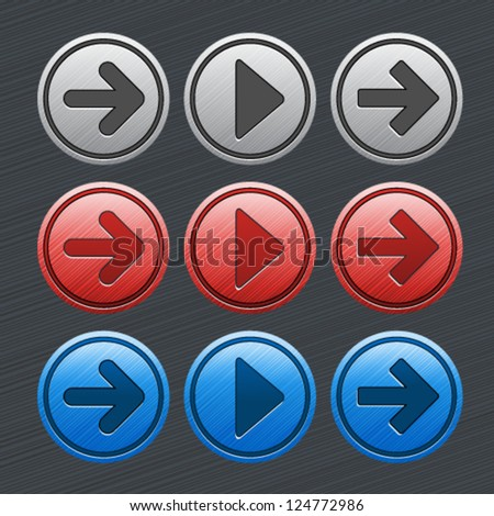 Vector color glossy buttons with arrows