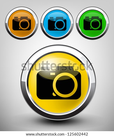 vector color glossy camera icon set for web applications - stock vector