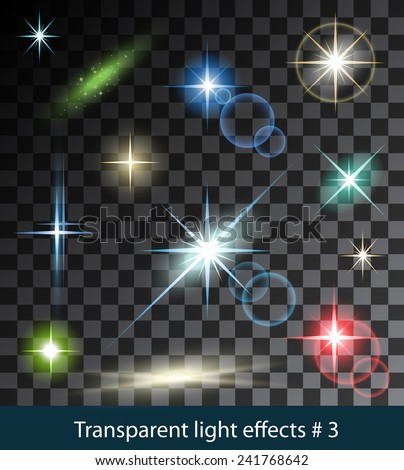 Vector color glowing stars, lights and sparkles. Transparent effects - stock vector