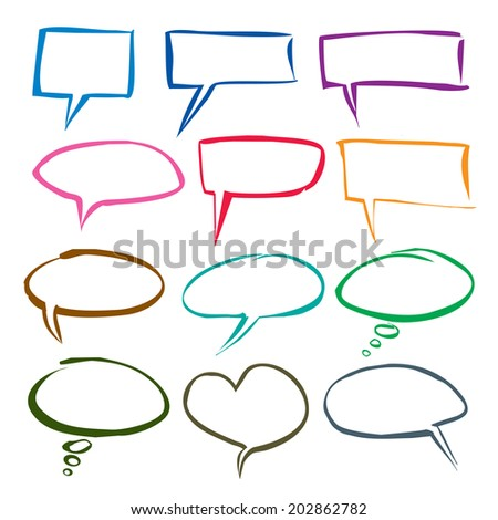 vector color hand drawn comics bubbles - stock vector