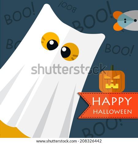 Vector color happy halloween gost cat. Eps 10 - stock vector