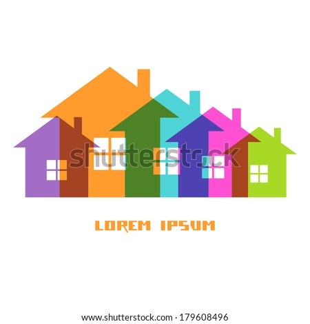 Suburban Homes Icon Easy Change Colors Stock Vector