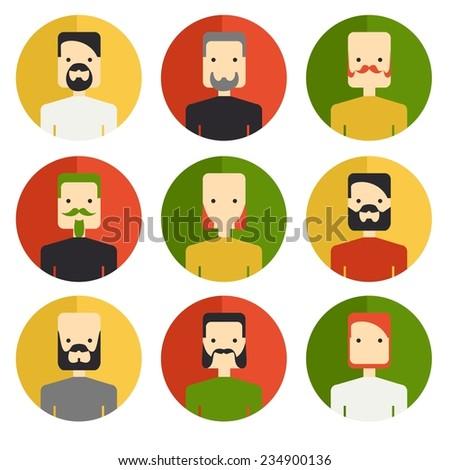 Vector color icon set avatar barber beard mans - stock vector