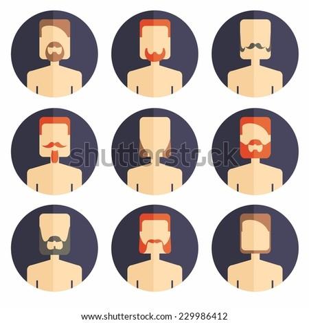 Vector color icon set avatar beard mans  - stock vector