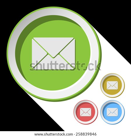 vector color icons with mailing envelope and stylized shadow - stock vector