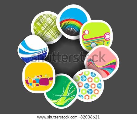 vector color illustration in  instant photo frames design. - stock vector