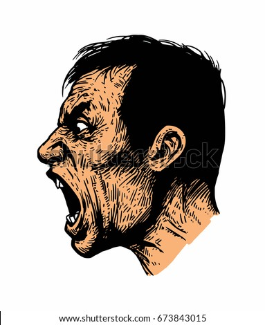 Vector color illustration of a screaming man.Isolated image on white background