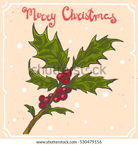 Vector color illustration of christmas holly branch,text Merry Christmas on background with abstract paper texture,retro frame.Tree branch sketch.Linear art in vintage style for your design.