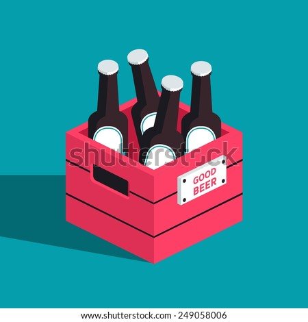 Vector color isometric icon with case of dark beer with four bottles - stock vector