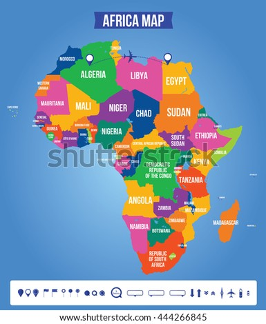 Vector color map africa all objects stock vector royalty free vector color map of africa all objects are located on separate layers elements of ccuart Images