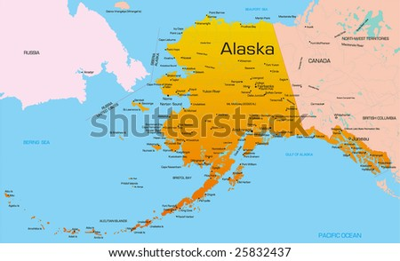 Vector Color Map Of Alaska State Usa
