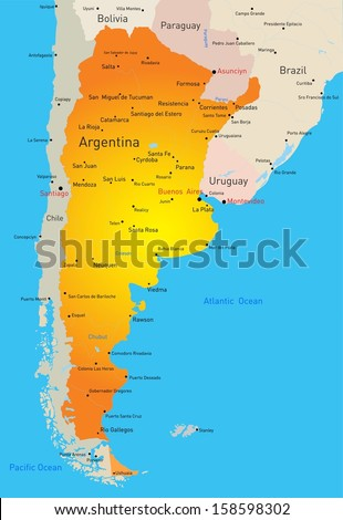 Vector Color Map Argentina Country Stock Vector - Map argentina