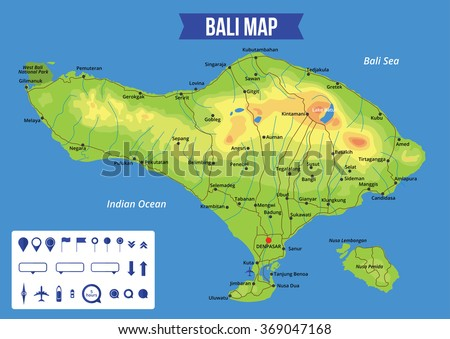 Vector color map bali capital denpasar vector de stock369047168 vector color map of bali with capital denpasar important cities and roads all objects gumiabroncs Images