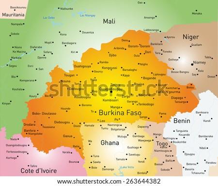 Vector color map of Burkina Faso - stock vector