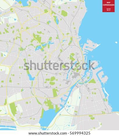 Vector Color Map Copenhagen Denmark City Stock Vector 569994325