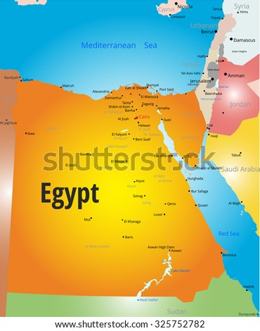 Abstract Vector Color Map Egypt Country Stock Vector - Map of egypt country
