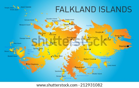 Vector Color Map Falkland Islands Stock Vector 2018 212931082