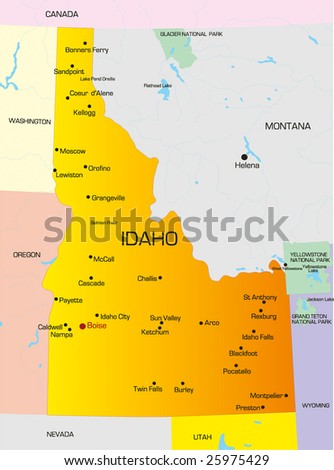 Vector Color Map Idaho State Usa Stock Vector Shutterstock - Map of usa idaho