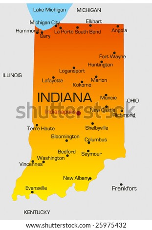 Vector color map of Indiana state. Usa - stock vector