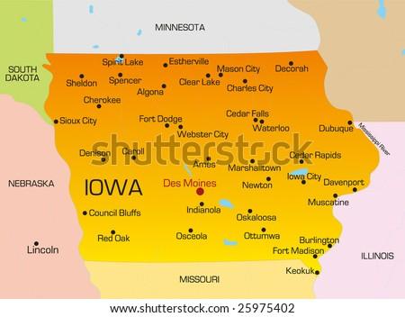 Iowa Map Stock Royalty Free & Vectors